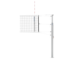 Telescopic volleyball post with net hooks