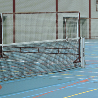 Tennis net with double top mesh